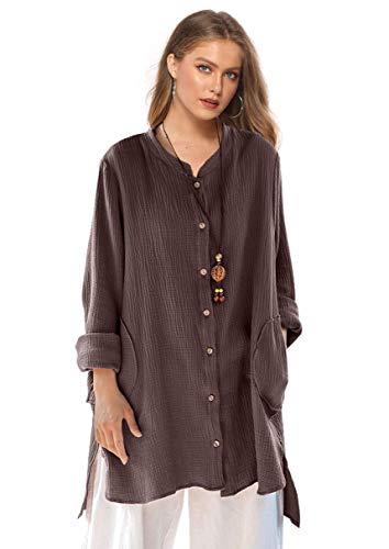Soojun Women's Loose Fit Button Down Linen Cotton Cardigan Shirts Coat