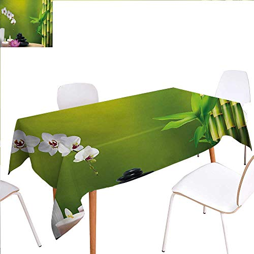 familytaste Spa Printed Tablecloth Bamboo Flower Stone Wax on The Table Orchid Rock Healthy Lifestyle Theme Rectangle Tablecloth 60