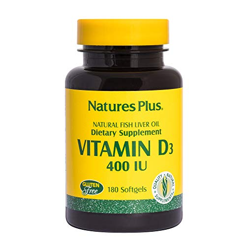 Natures Plus Vitamin D3 (Cholecalciferol) - 400 IU, 180 Softgels - Bone Health, Heart Health & Immune System Support Supplement, Water Soluble for Maximum Absorption - Gluten Free - 180 Servings