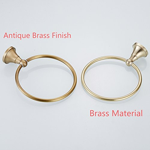 WINCASE Towel Ring Towel Holder for Bathroom, Solid Brass Antique Brass Finish Concealed Screw Wall Mounted Classic Retro by WINCASE (Image #1)