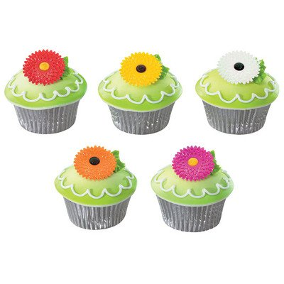 Iridescent Gerbera Daisies Pink Red Yellow Orange White -24pk Cupcake / Desert / Food Decoration Topper Picks with Favor Stickers & Sparkle Flakes Gerbera Favors