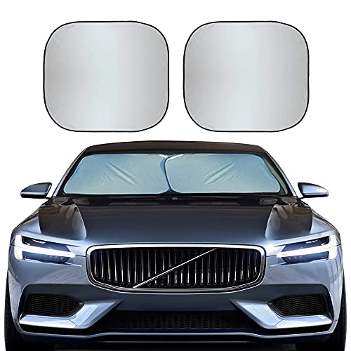 EcoNour Foldable 2-Piece Car Windshield Sunshade | Durable 240T Polyester Sun Shield for Front Window Blocks UV Rays…