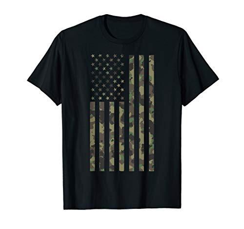 Military Veteran Camo Camouflage USA Flag T-Shirt