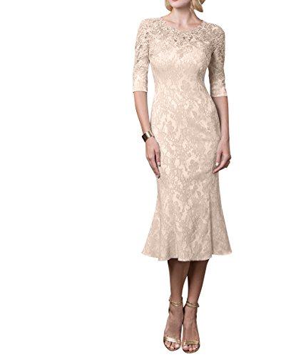 Charmant Festlichkleider Brautmutterkleider Damen Beige Partykleider Langarm Formal mit Abendkleider Etuikleider Knielang ggXqr