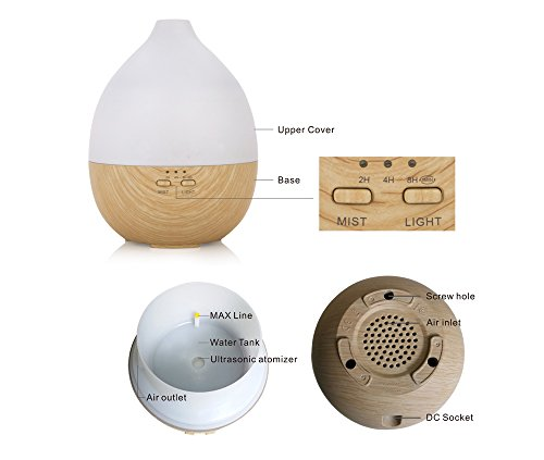Aromatherapy diffuser and humidifier. Cool Mist Humidifier Ultrasonic Aroma Essential Oil Diffuser for home, spa, living room, bedroom. Adjustable Mist Modes, Waterless Auto Shut-off, Color LED Lights by Misstatu Home (Image #1)
