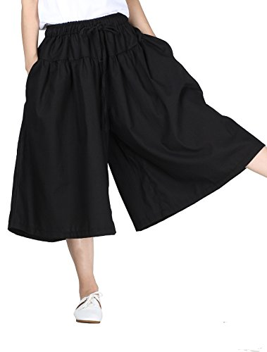 Minibee Women's Cotton Linen Drawstring Wide Leg Crop Pants With Pocket Black,Black,One Size
