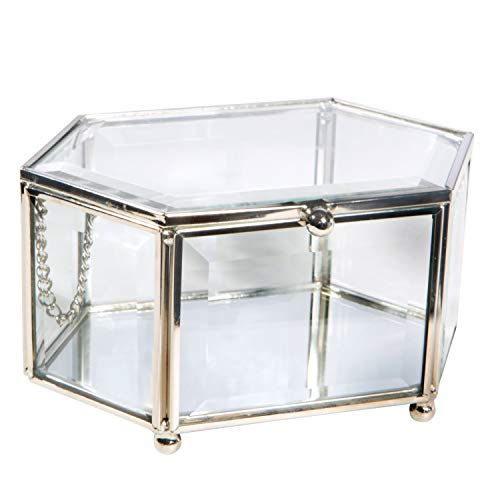 Home Details Vintage Mirrored Bottom Glass Keepsake Box Jewelry Organizer, Decorative Accent, Vanity, Wedding Bridal Party Gift, Candy Table Décor Jars & Boxes, Diamond Shape, Silver