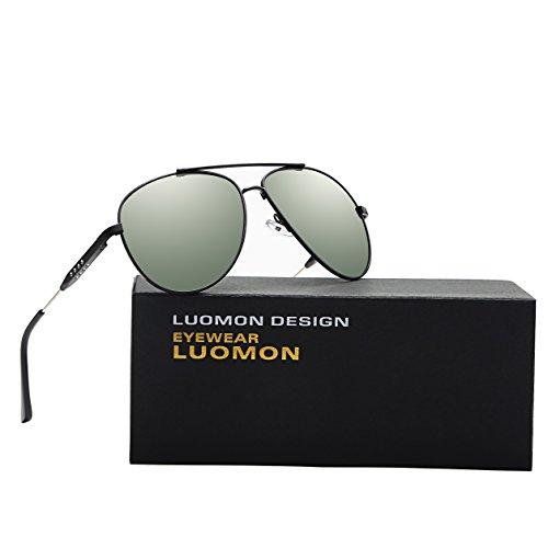 cb0fc7f977 LUOMON LM1573 Black Frame G-15 Lens Polarized Oversized Aviator Sunglasses
