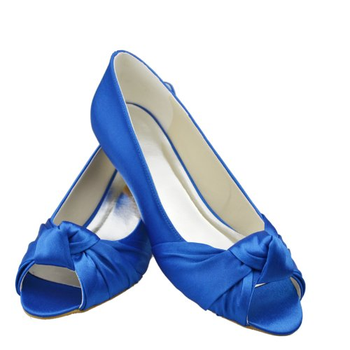 Moyen Bout Soirée Gyayl223 Bleu Minitoo De Satin Sandales Ouvert Partie Talon Chaussures Mariée Bowknot Femmes HXRw8waypq