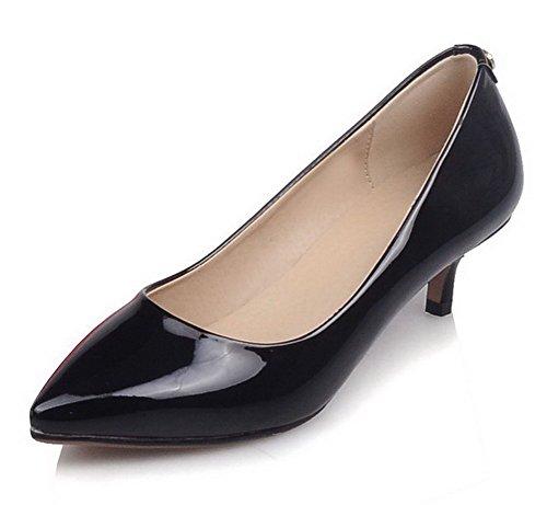 VogueZone009 Damen Mittler Absatz Lackleder Rein Ziehen auf Pumps Schuhe Schwarz