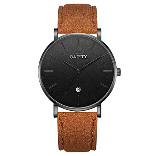 LUCAMORE Mens Quartz Watch,Analog Wrist Minimalist Watches Fashion Date Window Ultra-Thin, PU Leather Strap