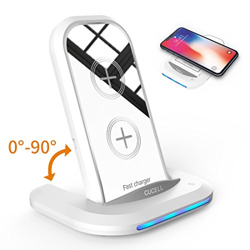 Wireless Charger iPhone X, CUCELL QI Wireless Charger Fast Charging Pad Stand for Samsung Galaxy S8/S8 Plus Note 8/5 S7/S7 plus Edge iPhone X 8 8 Plus Lg g6 And All Qi-Enabled Cell Phone(NO Adapter)