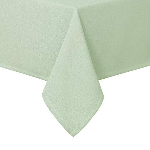 Homedocr Faux Linen Rectangle Tablecloth for Dining Room and Kitchen - Wrinkle Resistant and Washable Fabric Table Cloth, 52 x 70 Inches, Mint Green]()