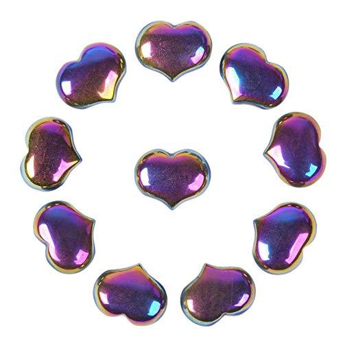 Justinstones Coated Rainbow Hematite Gemstone Healing Crystal 1 inch Mini Puffy Heart Pocket Stone Iron Gift Box (Pack of 10)