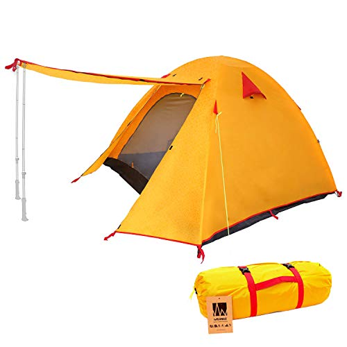 Weanas Professional Backpacking Tent 2 3 4 Person 3 Season Weatherproof Double Layer Large Space Aluminum Rod for Outdoor Family Camping Hunting Hiking Adventure Travel (Orange, 1-2 Person)