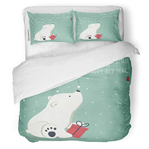 (SanChic Duvet Cover Set The Depicts Seated Little Polar Bear Box Garland Decorative Bedding Set with Pillow Case Twin Size)
