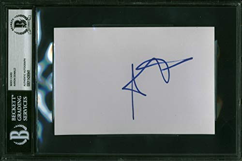 (Rams Aaron Donald Authentic Signed 4x6 Index Card Autographed BAS Slabbed)