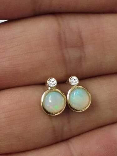 Diamond Earrings Opal Earrings 0.10 ct Diamond Stud Earrings October Birthstone 14k Yellow Gold Opal Earrings 0.10 tcw Round Brilliant Cut Diamond Stud Earrings Solid Gold Screw Back G-H