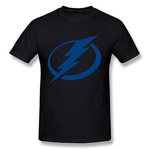 Hsuail Men's Tampa Bay Lightning Logo T-Shirt Black US Size XL (Tampa Bay Cycling)