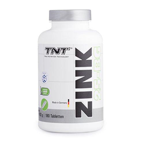 Hochdosierte Zink-Tabletten in Deutscher Premium Qualität   Zinkmangel vorbeugen und Symptome bekämpfen mit Zink & Histidin   Immunsystem stärken, Hautbild reparieren   TNT Zink 25-BG - 180 Tabletten