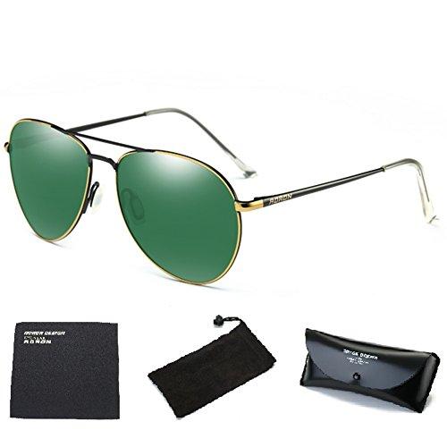 Wonzone Mens Womens Aviator UV400 Polarized Sunglasses with Sun Glasses Case (Golden/Dark - Best Inexpensive Polarized Sunglasses