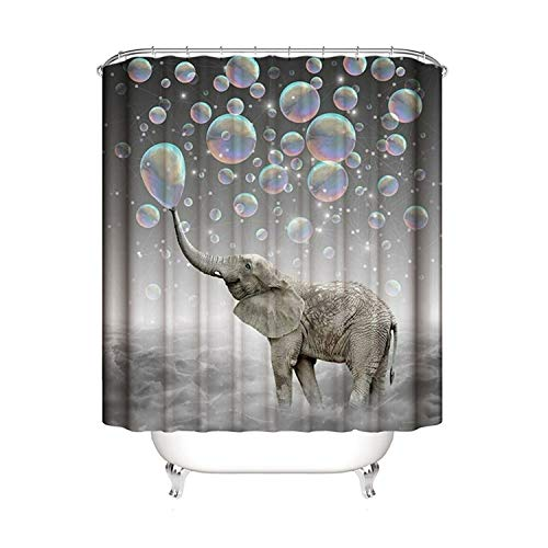 Gnzoe Polyester Shower Curtain Elephant Spitting Bubbles Pattern
