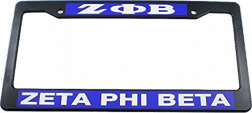 Cultural Exchange Zeta Phi Beta Plastic License Plate Frame [Black - - Frame Phi Plate License