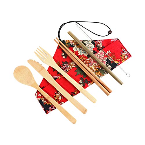 Ktyssp Portable Bamboo Cutlery Travel Eco-Friendly Fork Spoon Set Include Reusable Fork Spoon Set (A)