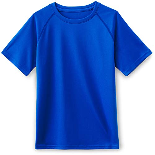 (TSLA Boys's HyperDri Short Sleeve T-Shirt Athletic Cool Running Top, Hyper Dri Crewneck(kts01) - Royal Blue, X-Large (18/20))