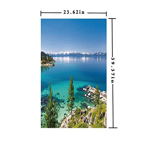 (Window Films Privacy decorate 3D No Glue Static,Tranquil View of Lake Tahoe Sierra Pines on Rocks with Turquoise Waters Shoreline,W15.7xL63in,For Bathroom Bedroom Living Room with Blue Grey Green)