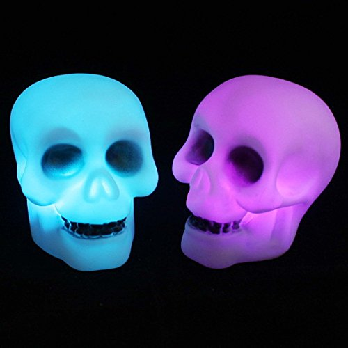 Gbell LED Halloween Skull Light Lamp - Kids Adults Party Home Decoration,Color Changing Night Light Ideal for Dancing Hall/Bars/Cafes/Restaurants/Bathroom/Hallway/Stairs,1Pcs (White) -