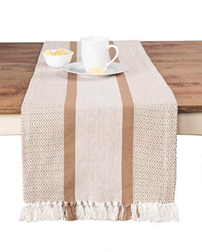 Sticky Toffee Cotton Woven Table Runner with Fringe, Traditional Diamond Tan, 14 in x 72 in -
