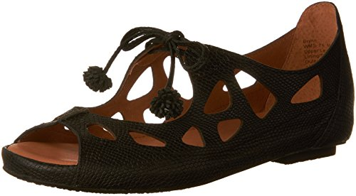 Janes Black Cole Mary Kenneth - Gentle Souls by Kenneth Cole Brynn Embossed Leather Lace-Up Sandal Black