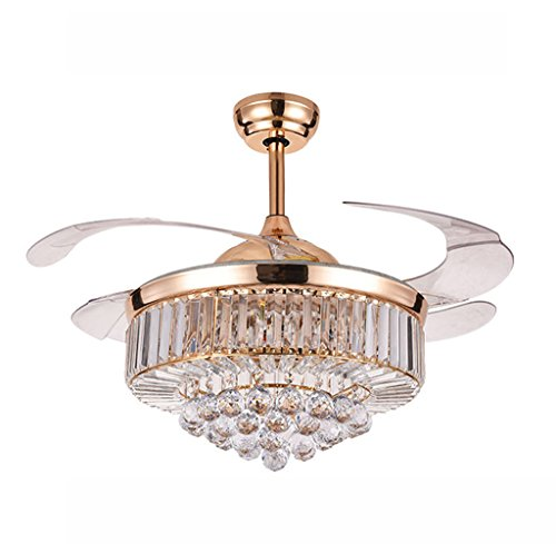 42 inches Crystal Dimmable Ceiling Fan Light,Modern Indoor Remote Control LED Pendant Light Metal Luxury Invisible Ceiling Chandelier Lighting (Rose Gold)