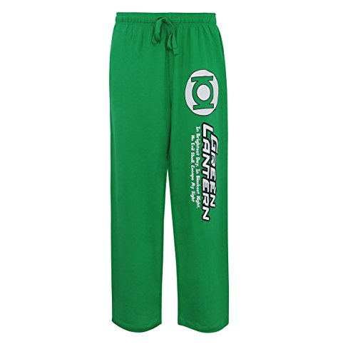 SuperHeroStuff Green Lantern Oath Glow-Ink Men's and Women's Pajama Pants- Large (36-38)