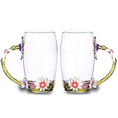 Glass Tea Cup Set [2-Pack], COAWG 12oz Lead Free Flower Tea Mug with Handle, Unique Personalized Birthday Present Ideas for Women Grandma Mom Teachers Hot Beverages (Tall Pink) -