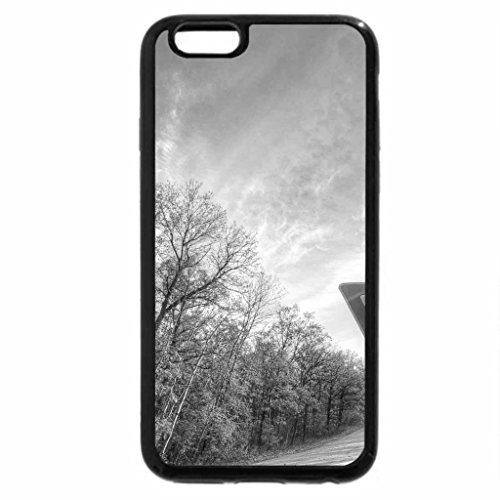 iPhone 6S Plus Case, iPhone 6 Plus Case (Black & White) - yield sign on a country road in autumn