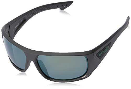 Columbia Men's Arbor Peak Polarized Wrap Sunglasses, Matte Black/Green, 66 mm