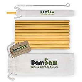 Reusable Bamboo Drinking Straws | Reusable Straw | Strong & Durable | Cocktail Straws | Biodegradable Straws | Eco Friendly Straws | BPA Free |Dishwasher Safe |12 Straws | Straw Bag | Bambaw