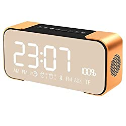 Star Fire Portable Wireless Stereo Bluetooth Speaker with Alarm Clock,Build-in Mic,FM Radio,LED Light,Hands-free,Two Subwoofer Enhanced Bass Surround Sound for iPhone Samsung Computer (Golden)