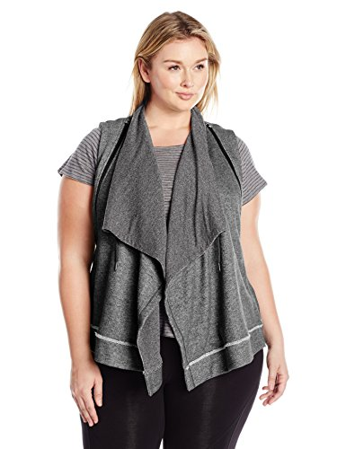 Boho-Chic Vacation & Fall Looks - Standard & Plus Size Styless - Calvin Klein Performance Women's Plus Sizezip Shawl Collar Vest Size, Black Heather