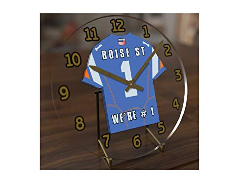 FanPlastic College Football USA - We're Number ONE American Football Desktop/Table Clocks - Support Your Team !!! (Boise State -