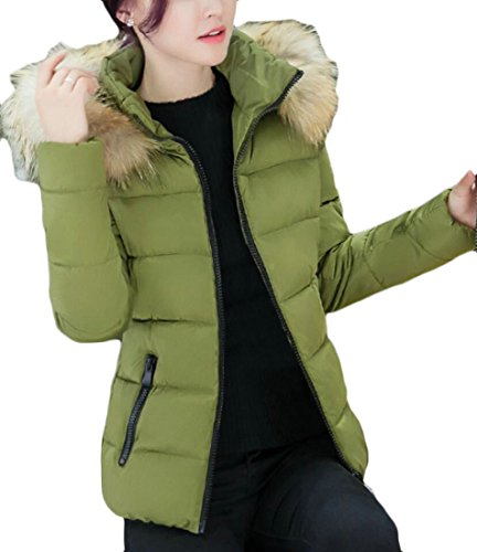 Women's Short Green Hooded Outwear Winter Coat amp;W Faux M Thick Fur Army amp;S Parkas Solid 8Y6AnppHWE