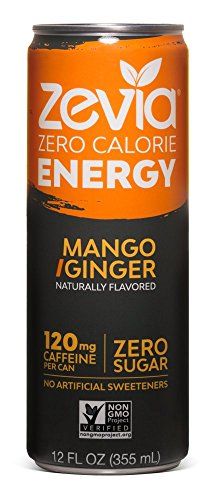 Zevia Zero-Calorie, Naturally Sweetened Energy Drink, Mango Ginger, 12 Ounce (Pack of 12)