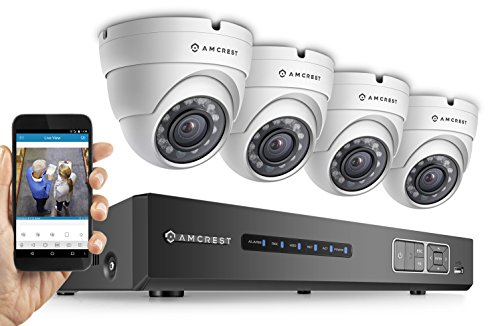Amcrest ProHD 720P 4CH Video Security System - Four 1.0-Megapixel (1280TVL) Outdoor IP67 Dome 1TB HDD, Night Vision, Remote Smartphone Access, White Mid (AMDV7204M-4D-W)
