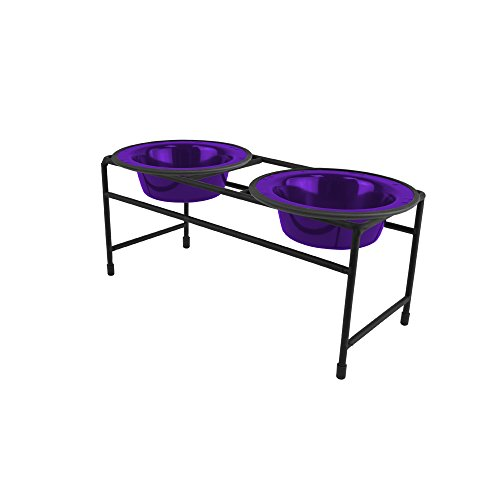 Platinum Pets Double Diner Feeder with Stainless Steel Cat Bowls, 6 oz, Purple