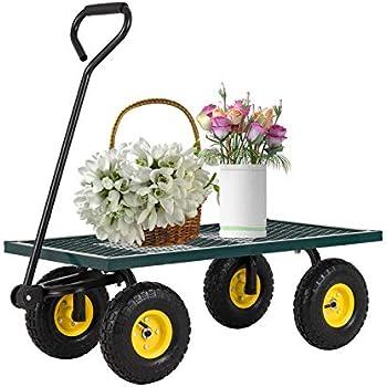 Amazon Com Suncoo Garden Cart Wagon With Tires Wheels