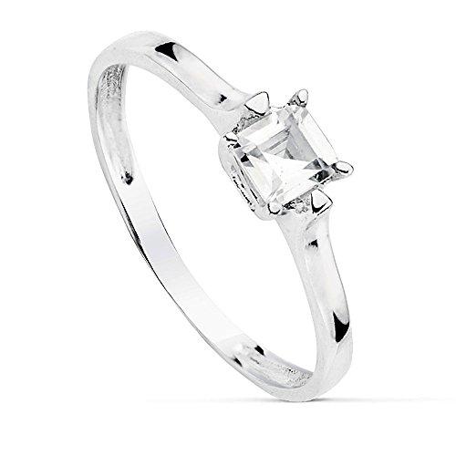 Bague solitaire 4mm or blanc 18 carats zircone cubique. [AB2316]