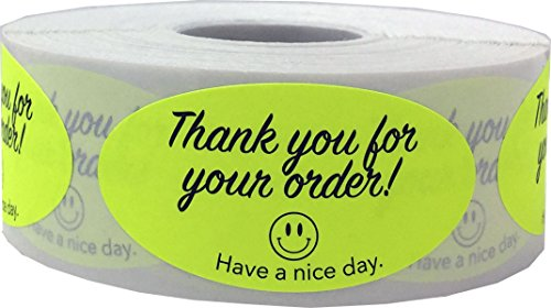 Fluorescent Yellow with Black Thank You For Your Order, 2 x 1 Inches in Size, 500 Labels on a Roll by InStockLabels.com