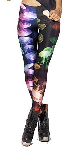 QZUnique Women's Colorful Jellyfish Digital Print Ankle Length Elastic (Character Outfit)